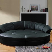 Modern Black Leather Circular Sectional Sofa- Circle