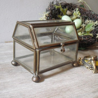 Small Brass and Glass Trinket Box  Wedding Ring Box or Terrarium .. chest shaped