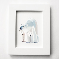 Polar Bear and Cubs, Geometric, Minimal, Animal print, Original illustration, Art, A4, A5, Custom sizes