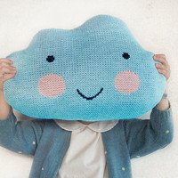 Knit Cloud Pillow : ) BRIGHT BLUE