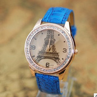 Eiffel Tower Watch, Fashion Wrist Watch Blue Artificial Leather Watch, Retro Style Women's Watch, Everyday Wrist Watch PB0174