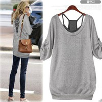 Grey Charming Halter Leisure Two Sets T-Shirt