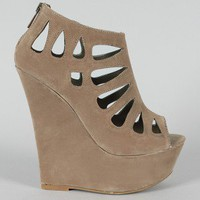 Dollhouse Caged Peep Toe Platform Wedge