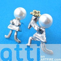 Unique Marriage Proposal Large Stud Earrings with Pearl Details