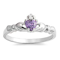 Sterling Silver Claddagh Rings size 1 Baby CZ Purple Amethyst Girl toe .925 b38