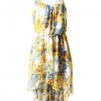 LOVE Yellow Rose Print Pleat Neck Asymmetrical Maxi Dress - Love