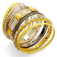 Bar III Bracelet Set, Gold-Tone Yellow Gypsy Bangle Bracelets - Women - Macy's