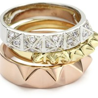 "nOir ""Tapers and Spikes"" Rose Gold Pyramid Stack Ring Set, Size 8"