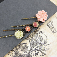 Peach Bobby Pins, Flower Bobbies Set , Spring Wedding Accessories by Flower Couture