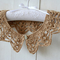Beige Crochet Peter Pan Collar-free shipping