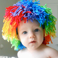Baby Clown Wig Halloween Costume Rainbow Color