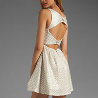 Alice + Olivia Marla Boat Neck Cutout Back Dress in Silver from REVOLVEclothing.com