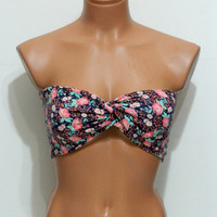 multicolored spandex twisted bandeau strappless bra bandeau bikini siwmwear bikini top girly accessories Bandeau flower Spandex