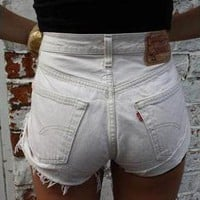 Vintage LEVIS White Denim High Waisted Shorts from Boutique 73