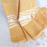 Tradinational Turkish  Peshtemal Orange.White Striped-Peshtemal-sauna,spa,fitness,