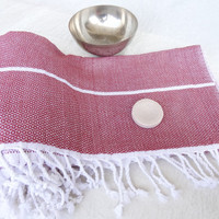 Tradinational Turkish Towel-Ottoman Peshtemal-Burgundy ,White Striped Pesthemal