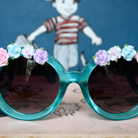 Flower Child Sunglasses with ceramic by PenelopeMeatloaf on Etsy