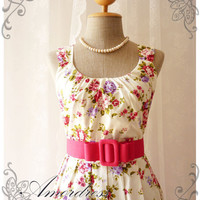 Blooming - Exotic Floral Dress White Dress with Pink Purple Floral Summer Perfection Tea Dress Party Garden Wedding Cocktail Dress -S-M-