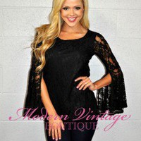 Lace Belle Sleeve Blouse Black
