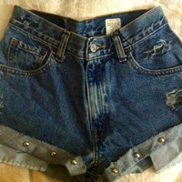 Studded cuff high waisted or low waisted denim shorts