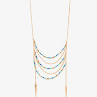 Draped Beaded Spike Necklace