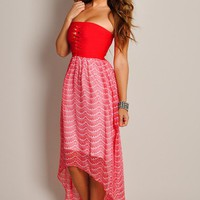 Dreamy Red Lace Print High Low Maxi Dress