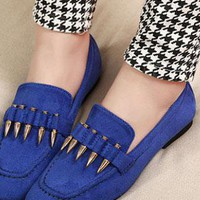 Ladies Fashion Flat Heel Bullet Design Casual Shoes In BLUE from NaomiShu