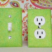 SET of GREEN APPLE Glitter Switch Plate Outlet Covers ANY STYLES