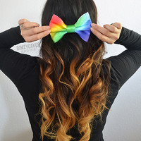 Rainbow Ombre Hair Bow - Dimeycakes - Hair Bows, Cases, &amp; Apparel