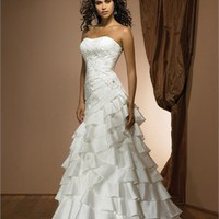 Feminine Strapless Applique High-Low Hemline Mermaid Wedding Dress WD1722