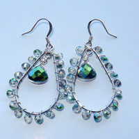 Light Green Swarovski Wire Wrapped Earrings