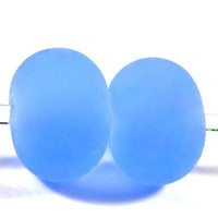 Frosted Light Blue Handmade Lampwork Beads Etched Sea Glass Beads SRA