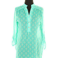 Sheer Cross Blouse-Turquoise | Bellum&Rogue