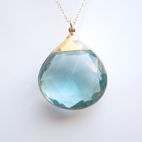Hydro Quartz Necklace in Clear Blue