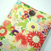 Gift For Her, Kimono Laptop Sleeves, Accessory For Laptop, 11 inch Macbook Air Sleeves, Kimono Cotton Fabric Chrysanthemum Pale Yellow