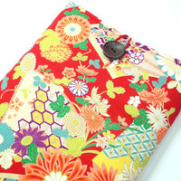 Macbook Air 11 inch Sleeve, Kimono Macbook Air Cover Japanese Cotton Fabric chrysanthemum Sensu Red