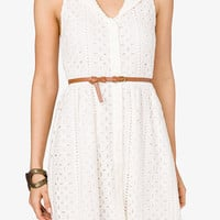 Fit &amp; Flare Eyelet Dress