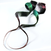 RAINFOREST / Human Hair Extension /  Reddish Black Green / Long Tie Dye Colored Hair