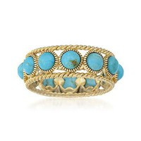 Ross-Simons - Turquoise Ring in 14kt Gold Over Sterling Silver - #777514