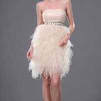 Champagne A-line Asymmetrical Strapless Dress [8743888] - $95.00 : dressoutletstore.co.uk, Wedding Dresses Outlet