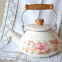 Ivory Enamelware Tea Kettle with Pink Flowers & hinged wood and metal handle