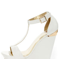 My Delicious Twice White Patent T-Strap Platform Wedges