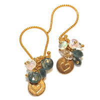 Mother's Day Gift Thai Sapphire Opal Gold Vermeil Heart Dangle Earrings Teal Blue