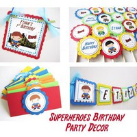 Superhero Favor Tags for Boys Birthday or Baby Shower
