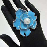 Something blue flower enamel ring - cocktail fashion wedding bridesmaid ring