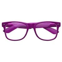 Retro Party Super Neon Color Wayfarers Style Eyeglasses Clear Lens Glasses- Purple: Shoes