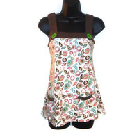 Mod Style Leaf Flower Print Tank Top Charm and Button Adornment Womens Clothing Large