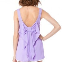 Coletta Bow Tank in Lavender - ShopSosie.com