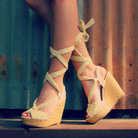 Beige Lace Up Wedge | Bellum&Rogue