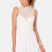 Daily Showdown Lace Ivory Dress